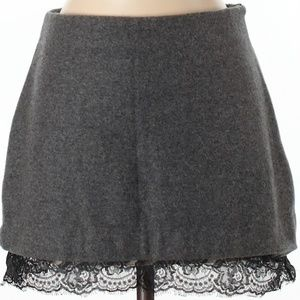 Black Wool Zara Skirt with Lace Trim Sz S